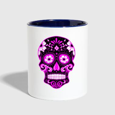Decorative black skull, light purple - Contrast Coffee Mug