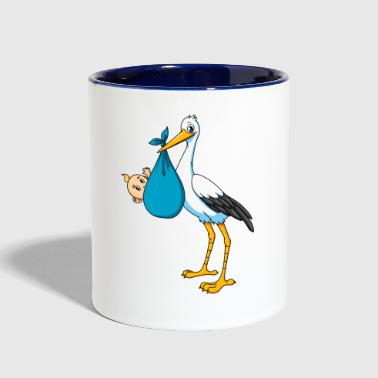 Stork with baby boy - Contrast Coffee Mug