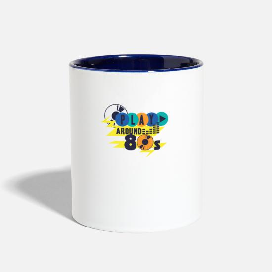 Retro Mugs & Drinkware - retro 80s party 04 - Two-Tone Mug white/cobalt blue