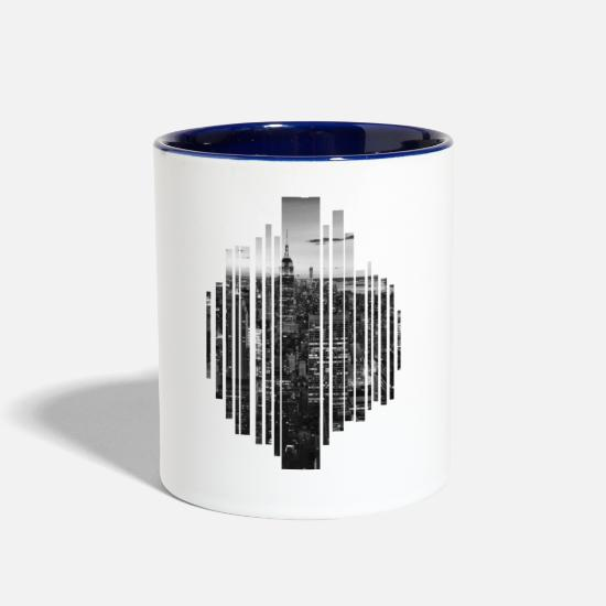 Big Mugs & Drinkware - big city in black and white - Two-Tone Mug white/cobalt blue