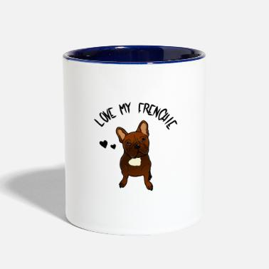 Bulldog Love my frenchie French Bulldog Lover and owner - Two-Tone Mug