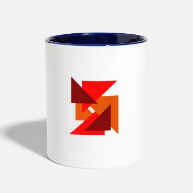 Orange triangles, gift, - Two-Tone Mug