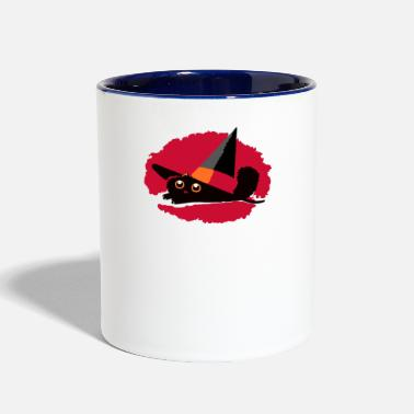 Pointy Cat In a Pointy Hat - Contrast Coffee Mug