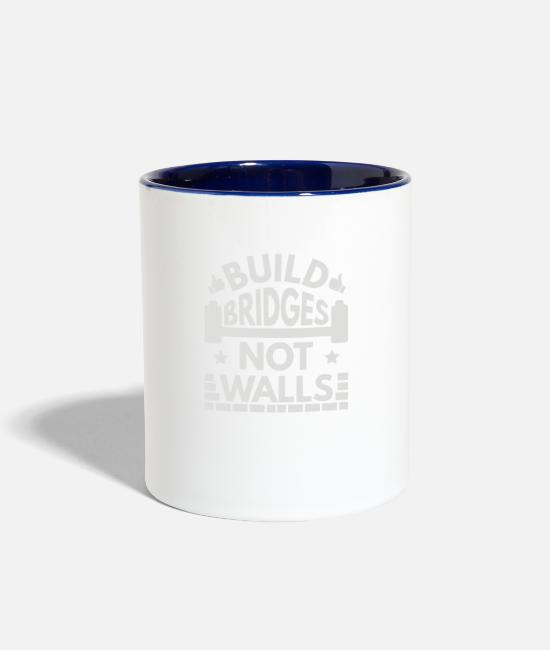 Building Mugs & Cups - Build Bridges Not Walls - Two-Tone Mug white/cobalt blue