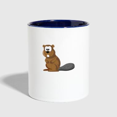 Cartoon Beaver - Contrast Coffee Mug