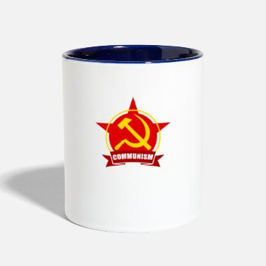 Socialist Communism Red Army Star Banner Badge Hammer Sickle - Contrast Coffee Mug