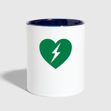 defibrillator green heart - Contrast Coffee Mug