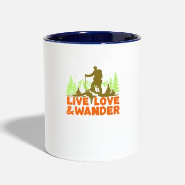 Live Love and Wander for hikers, Nordic walkers - Two-Tone Mug
