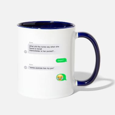 Funny FUNNY NURSE JOKE - Two-Tone Mug
