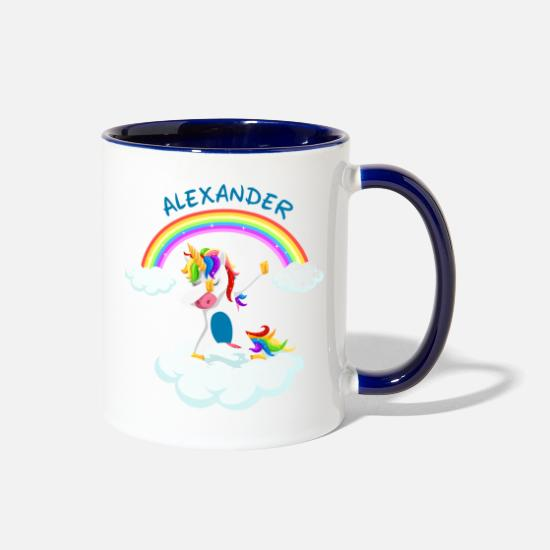 Dancing Mugs & Drinkware - Alexander dabbing unicorn gift idea disco - Two-Tone Mug white/cobalt blue