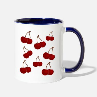 Cherry Cherry falling cherries - Two-Tone Mug