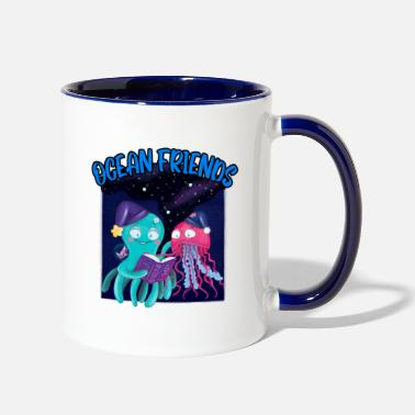 Nighttime Ocean Friends Nighttime Reading - Two-Tone Mug
