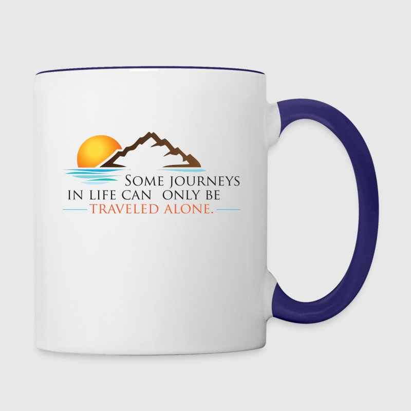 Viral Quote Journeys, Travel, Alone, Life: Quotes by Author Ken Poirot - Contrast Coffee Mug