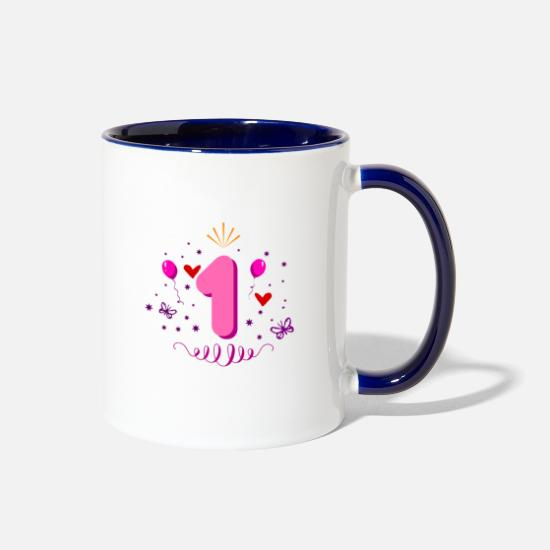 Birthday Mugs & Drinkware - 1st birthday for girls - Two-Tone Mug white/cobalt blue
