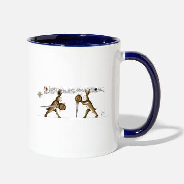 Medieval Rabbits in Towerfechtbuch - Two-Tone Mug