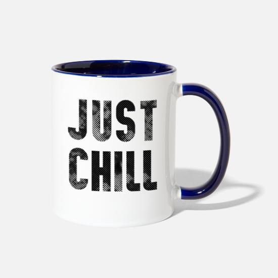 Typography Mugs & Drinkware - just chill - Two-Tone Mug white/cobalt blue