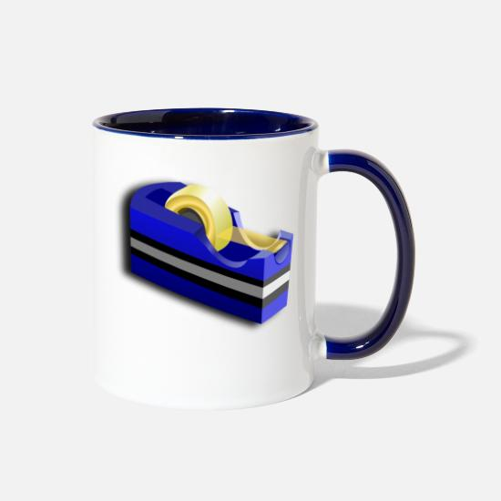 Tape Mugs & Drinkware - adhesive tape - Two-Tone Mug white/cobalt blue