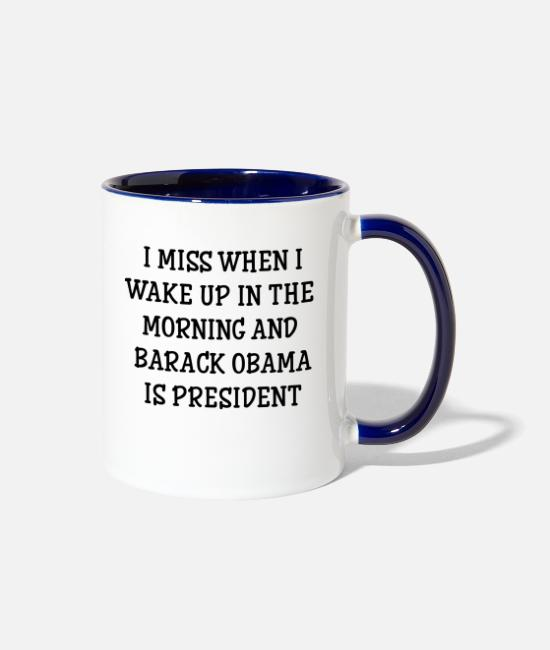Barack Obama Mugs & Cups - Barack Obama is president - Two-Tone Mug white/cobalt blue
