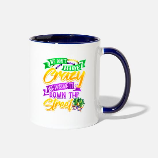 Game Mugs & Drinkware - Mardi Gras Parade It - Two-Tone Mug white/cobalt blue