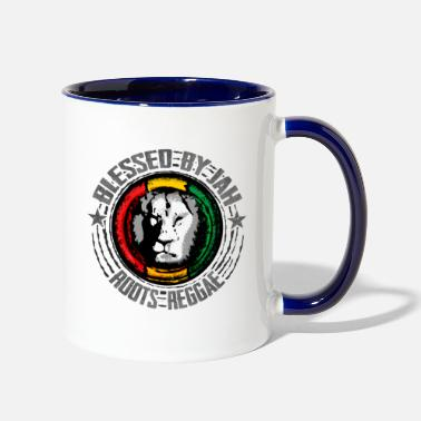 blessed by jah - roots reggae - Two-Tone Mug