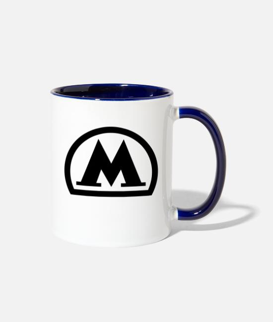 Cccp Mugs & Cups - moscow metro logo black - Two-Tone Mug white/cobalt blue