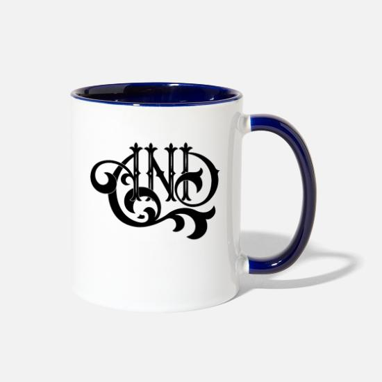 "Lettering Mugs & Drinkware - ""AND"" Lettering - Two-Tone Mug white/cobalt blue"