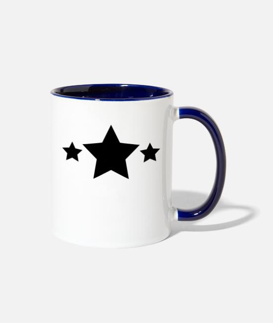 Black Stars Mugs & Cups - stars - Two-Tone Mug white/cobalt blue