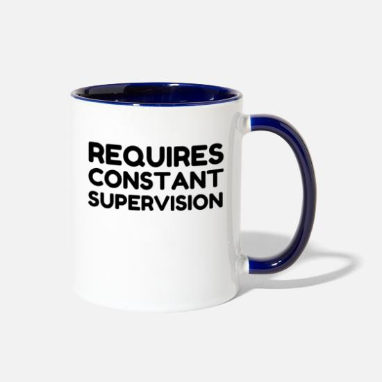 Parent Mugs & Drinkware - Requires Constant Supervision - Two-Tone Mug white/cobalt blue
