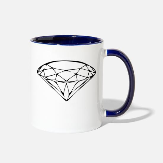 Love Mugs & Drinkware - diamond - Two-Tone Mug white/cobalt blue