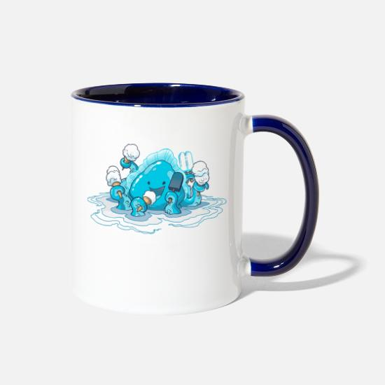 Kraken Mugs & Drinkware - Ice Cream Kraken - Two-Tone Mug white/cobalt blue