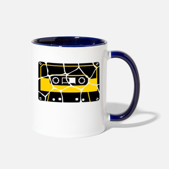 Singer Mugs & Drinkware - tape - broken - Two-Tone Mug white/cobalt blue