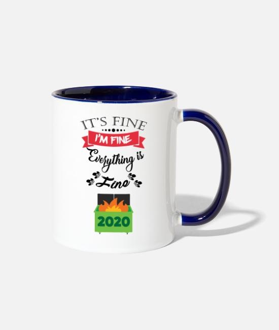 Infection Mugs & Cups - Funny Quotes On Social Distancing | Virus Jokes - Two-Tone Mug white/cobalt blue