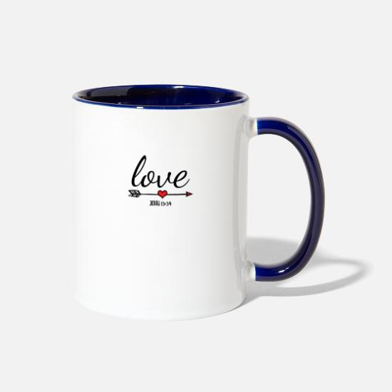 Scripture Mugs & Drinkware - Love One Another, Bible Verse - Two-Tone Mug white/cobalt blue