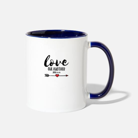 Memory Mugs & Drinkware - Love One Another, Bible Verse - Two-Tone Mug white/cobalt blue