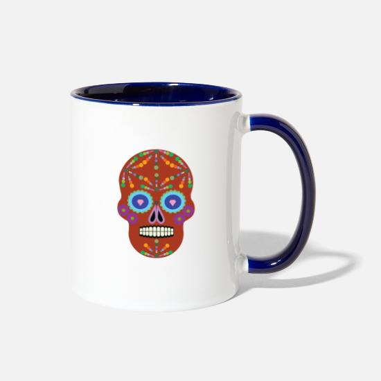 Family Crest Mugs & Drinkware - Day of the dead. - Two-Tone Mug white/cobalt blue