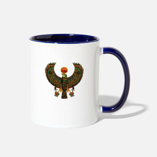 Egypt Mugs & Drinkware - Horus Ancient Egyptian Falcon Hieroglyph - Two-Tone Mug white/cobalt blue