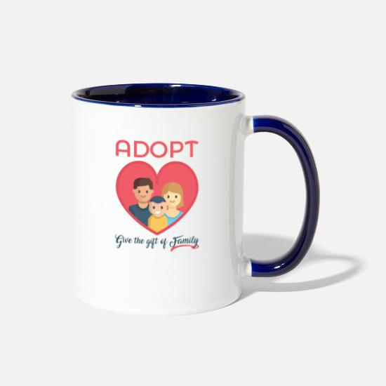 Adoption Mugs & Drinkware - Adopt! Give The Gift of Family! Adoption Awareness - Two-Tone Mug white/cobalt blue