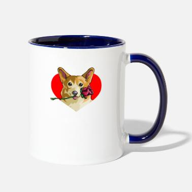 Romantic Romantic Corgi - Two-Tone Mug