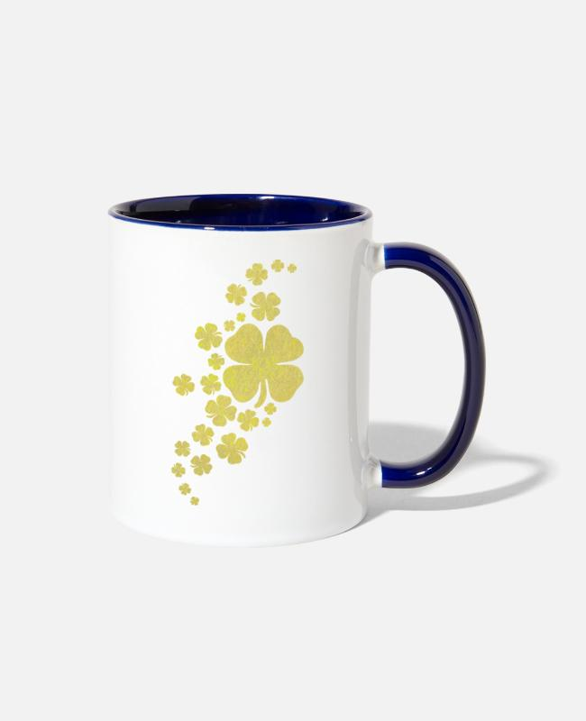 Charms Mugs & Cups - golden clovers lucky symbol st patrick's day - Two-Tone Mug white/cobalt blue
