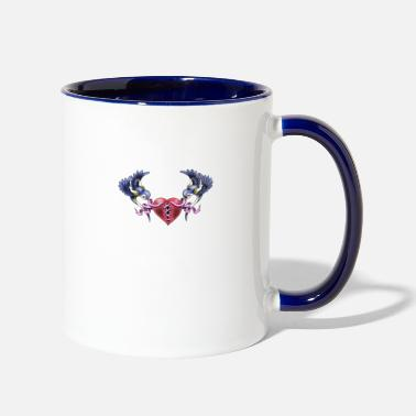 swallow bird tattoo heart broken tattoo - Two-Tone Mug