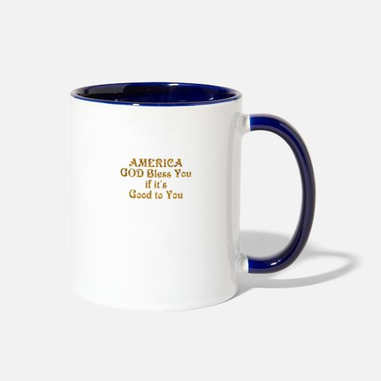 New Mugs & Drinkware - America God Bless You - Two-Tone Mug white/cobalt blue