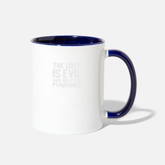 Evil Mugs & Drinkware - The Liver Is Evil And Must Be - Two-Tone Mug white/cobalt blue