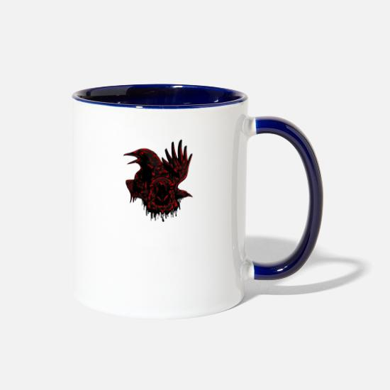 Animal Print Mugs & Drinkware - Crows birds animal wildlife vector illustration - Two-Tone Mug white/cobalt blue