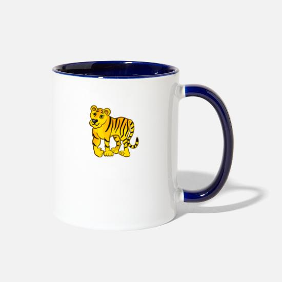 Saber Mugs & Drinkware - bengal tiger cat head sabre toothed3 - Two-Tone Mug white/cobalt blue