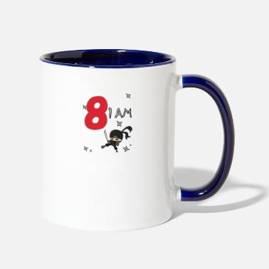Bday 8th Birthday T-Shirt Boys Ninja, Ninjas - Two-Tone Mug