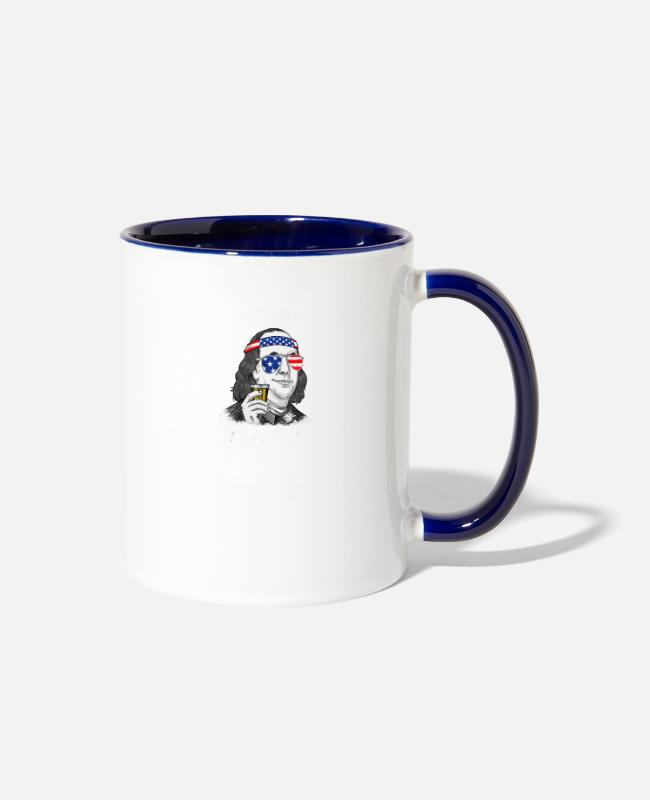Franklin Mugs & Cups - 4th Of July Ben Drankin Benjamin Franklin T Shirt - Two-Tone Mug white/cobalt blue