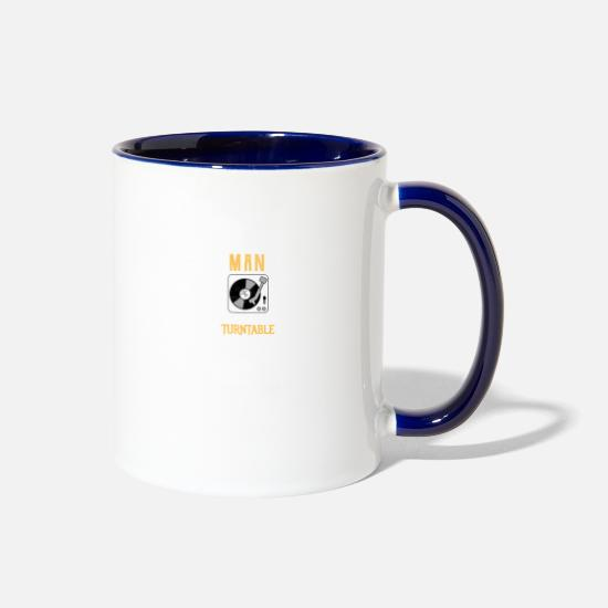 Purpose Mugs & Drinkware - Never underestimate a man with a turntable! - Two-Tone Mug white/cobalt blue
