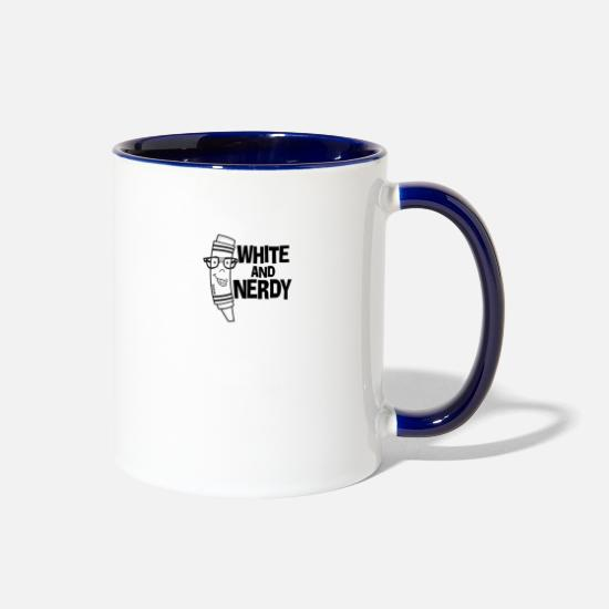 White Mugs & Drinkware - White And Nerdy - Two-Tone Mug white/cobalt blue