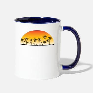 Maya Riviera Maya Mexico Sunset Palm Trees Beach - Two-Tone Mug