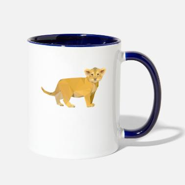 Cub Adorable Lion Cub Triangular Design - Two-Tone Mug